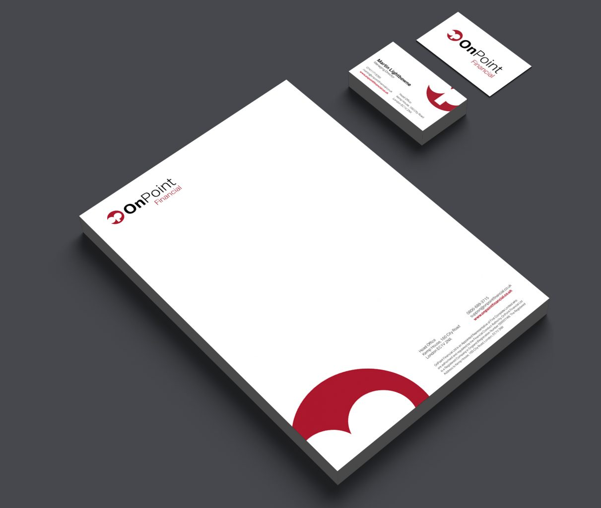 OnPoint Letterhead and business cards
